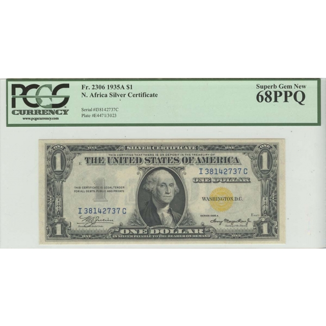 1935A $1 North Africa PCGS 68 Superb GEM PPQ FR#2306