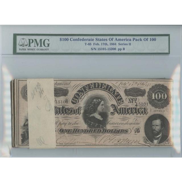 1864 $100 Confederate Pack 100 T-65 PMG CSA