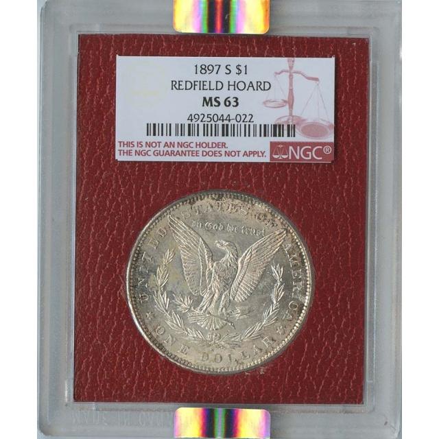 1897-S $1 Morgan Silver Dollar Redfield Hoard NGC MS63