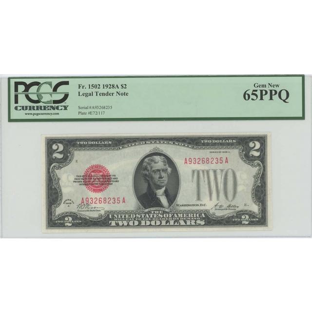 1928A $2 Legal Tender FR#1502 PCGS 65 PPQ GEM