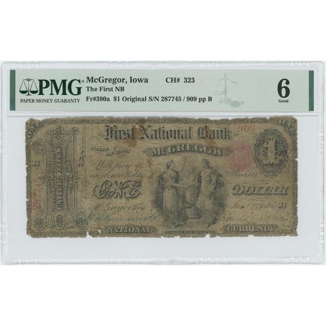 1865 $1 First NB McGregor Iowa FR#380a CH# 323 PMG Good 6