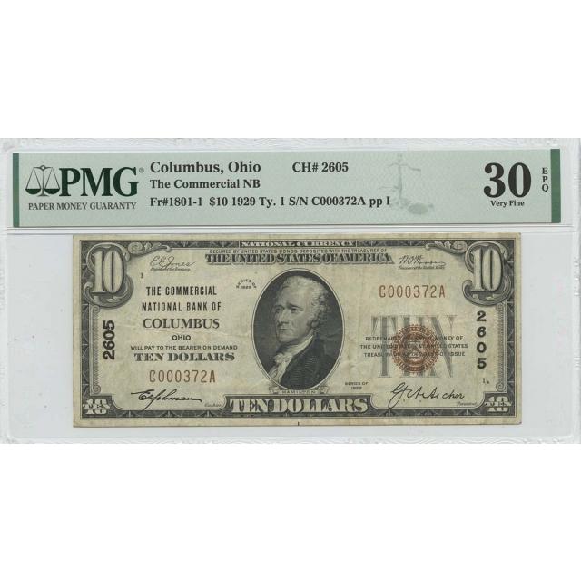 1929 Ty. 1 $10 Columbus Ohio NB CH#2605 PMG VF30 EPQ