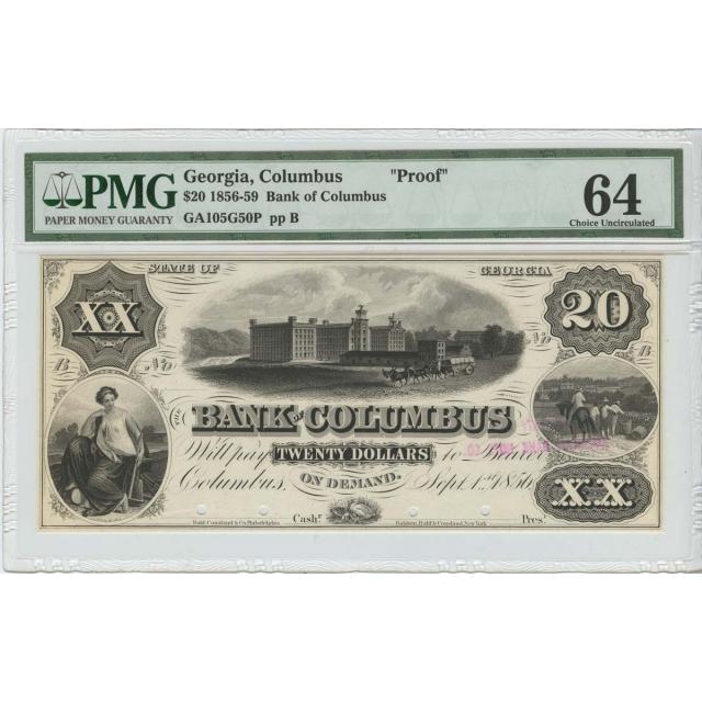 "1856-59 $20 Obsolete Columbus, Georgia ""PROOF"" PMG 64 Choice UNC"