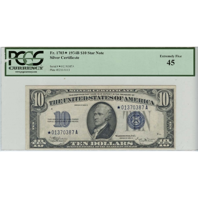 1934-B $10 Silver Certificate Star FR-1703* PCGS XF45 Rare Star Note