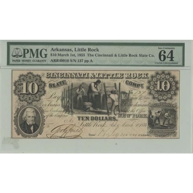 1855 $10 Arkansas Little Rock PMG MS64 CH UNC Obsolete Note