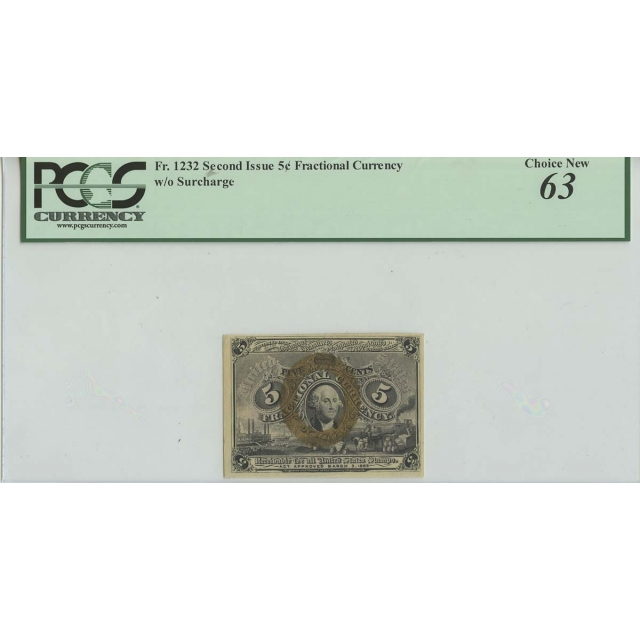 5c Fractional Second Issue w/o Surcharge PCGS 63 Choice New
