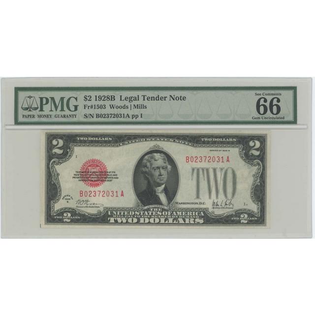 1928B $2 Legal Tender FR#1503 PMG 66 EPQ GEM