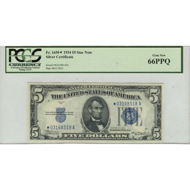 1934 $5 Silver Certificate Star Note FR#1650* PCGS 66 PPQ Gem New