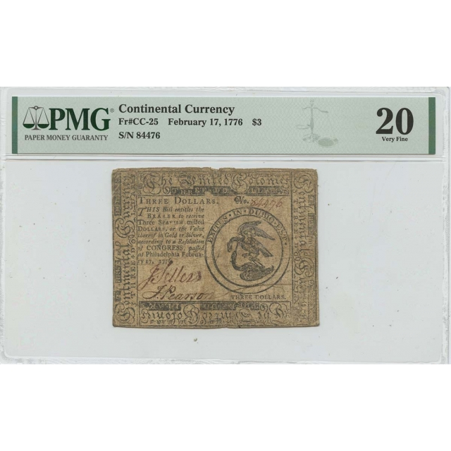 February 17 $3 Continental Currency 1776 CC-25 PMG VF20