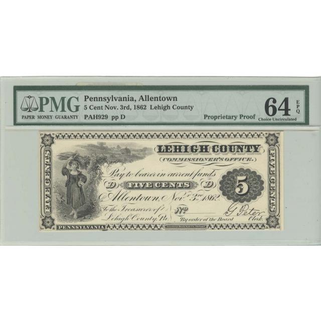 1862 5 Cent Allentown PA Lehigh County PROOF PMG CU64 EPQ