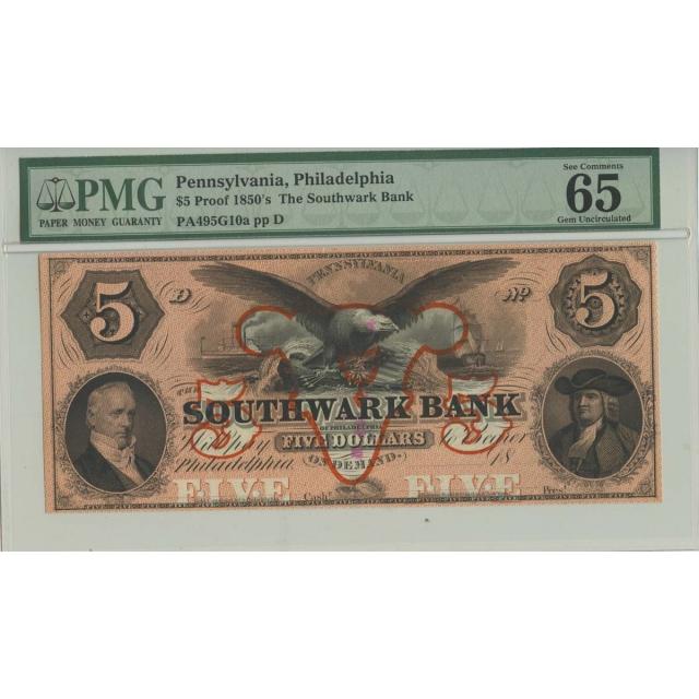 1850s $5 Proof PA, Philadelphia PMG MS65 Gem Unc EPQ