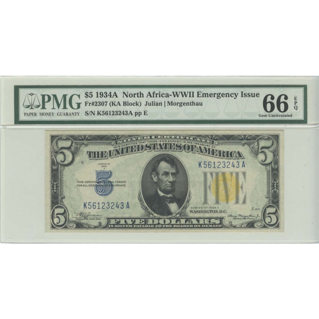 1934A $5 N. Africa PMG 66 GEM UNC EPQ FR#2307 KA Block