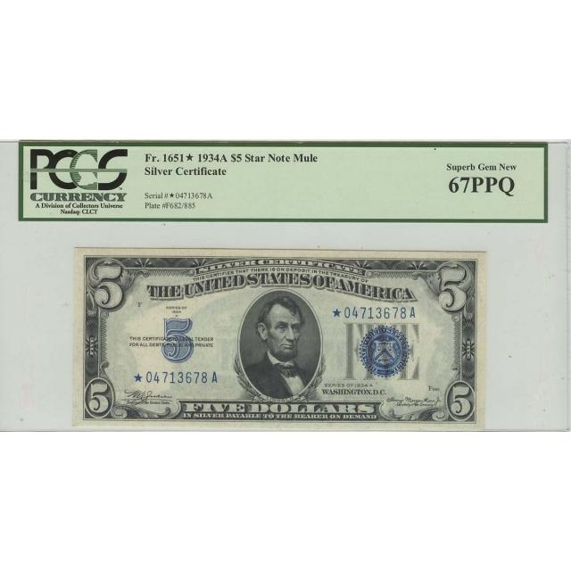 1934A $5 Silver Certificate Star Note PCGS 67PPQ Superb Gem New Finest Known Mule
