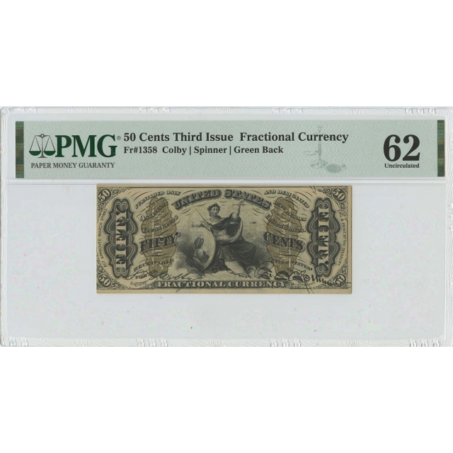Third Issue 50 Cents Fractional Green Back FR#1358 PMG 62