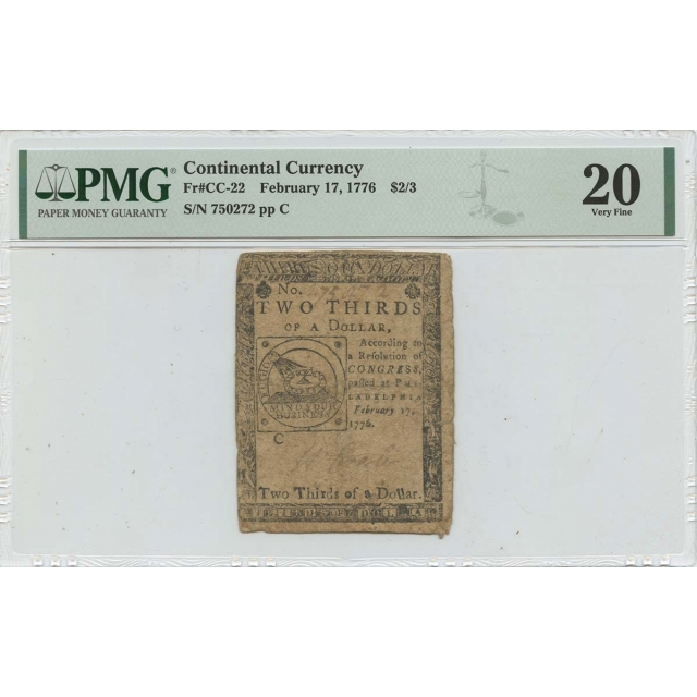 February 17 $2/3 Continental Currency 1776 CC-22 PMG VF20