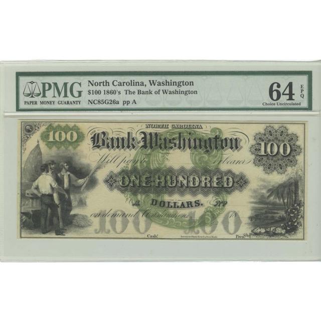 1860s $100 Obsolete NC Bank of Washington PMG CU 64 EPQ