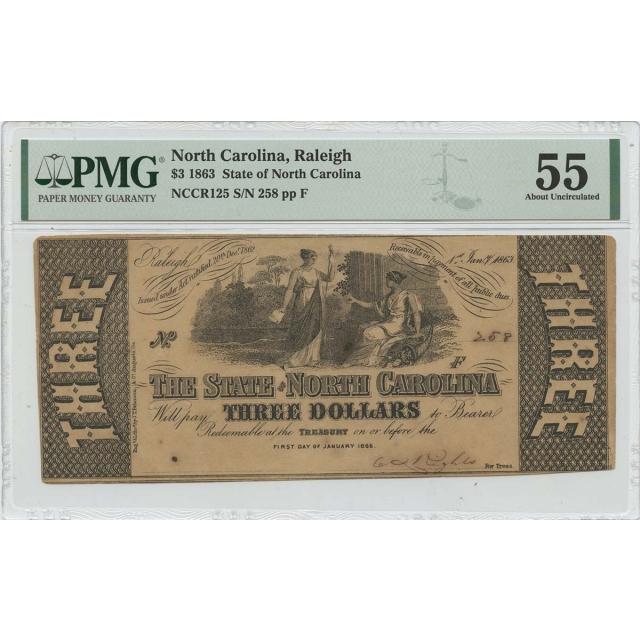 1863 $3 North Carolina Raleigh Haxby# OBSNCCR125 PMG AU55
