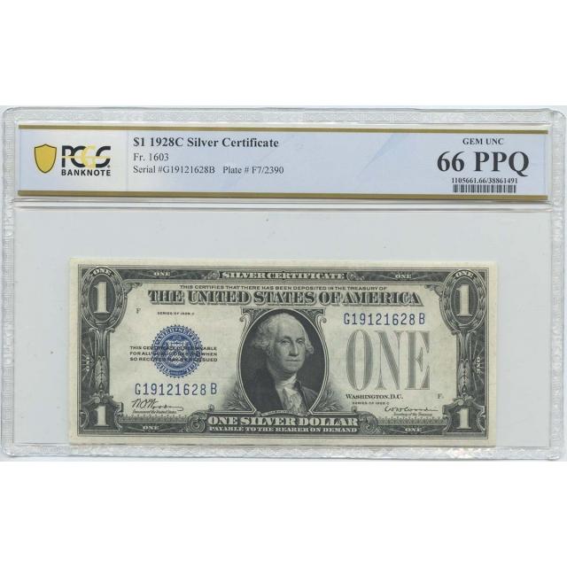 1928C $1 Silver Cert FR#1603 PCGS BankNote 66 Gem UNC PPQ