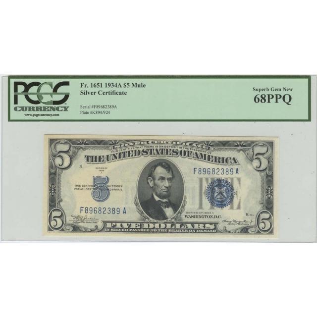 1934A $5 Silver Certificate FR# 1651 PCGS 68PPQ Superb Gem New Finest Known Mule