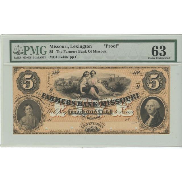 $5 Lexington Missouri Farmers Bank Of Missouri PROOF PMG 63 Choice Uncirculated