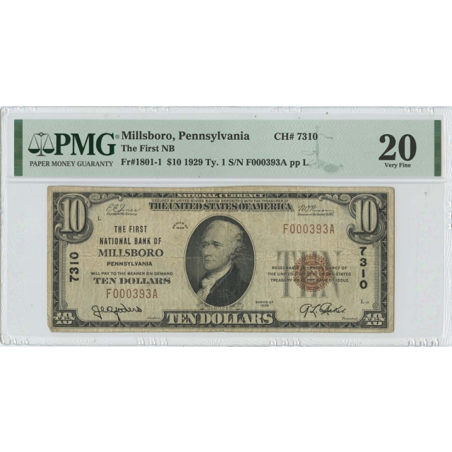 1929 $10 TY1 First NB of Millsboro PA CH# 7310 PMG 20 VF