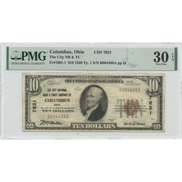 1929 Ty. 1 $10 Columbus Ohio NB CH#7621 PMG VF30 EPQ