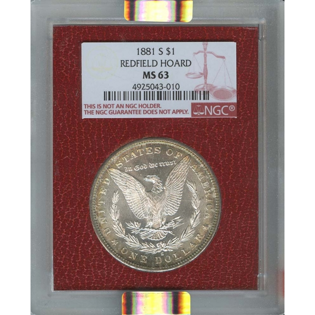1881-S  $1 Morgan Dollar NGC MS63 Redfield Collection