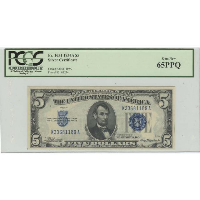 1934A $5 Silver Certificate FR#1651 PCGS 65 PPQ Gem New