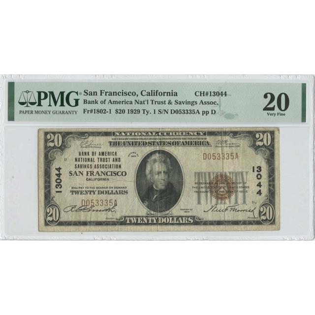 1929 $20 TY1 Nat'l Trust & Savings Assoc  San Francisco CA CH#13044 PMG 20 VF