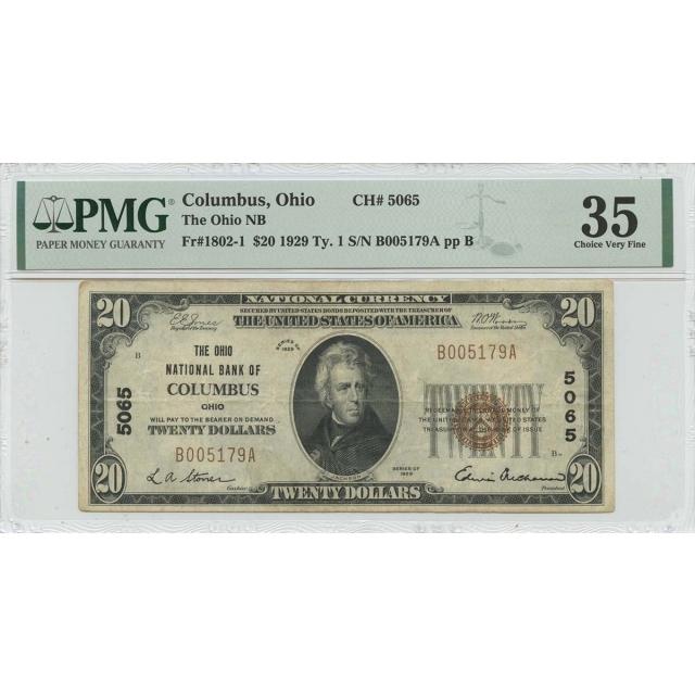 1929 Ty. 1 $20  Columbus Ohio NB CH#5065 PMG CH VF35