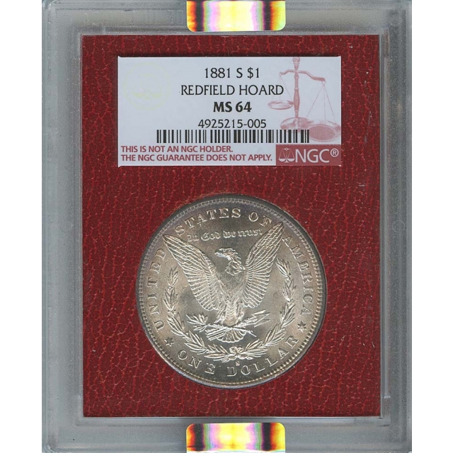 1881-S $1 Morgan Dollar NGC MS64 Redfield Collection