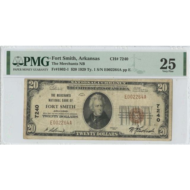 1929 $20 TY 1 Merchants NB Fort Smith Arkansas CH# 7240 PMG 25 VF