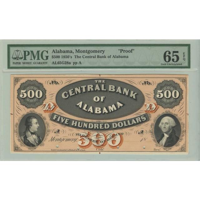 1850's $500 Montgomery Alabama Proof Obsolete Note PMG Gem 65 EPQ