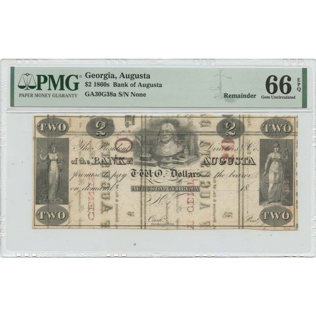 1860s $2 Georgia Augusta  Haxby# OBSGA30G38a PMG Gem 66 EPQ