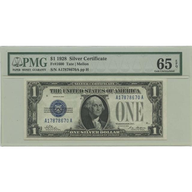 1928 $1 Silver Certificate FR#1600 PMG 65 Gem UNC EPQ