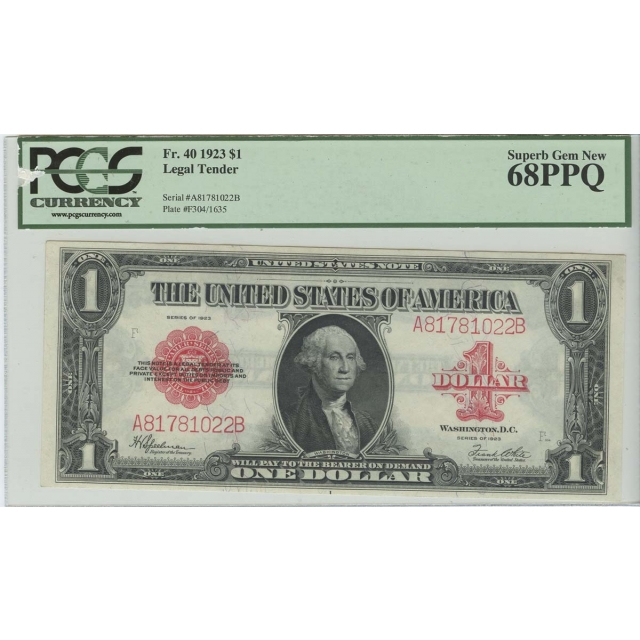 1923 $1 FR 40 Legal Tender PCGS Superb Gem 68 PPQ Red Seal