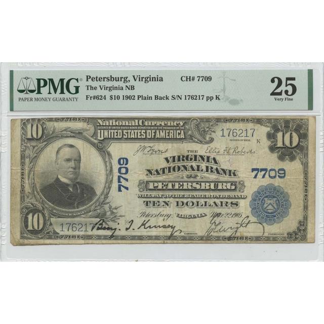 1902 $10 Virginia, Petersburg NB CH#7709 PMG VF25 Plain back