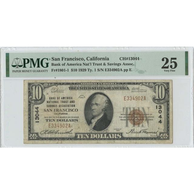 1929 $10 Bank of America Nat'l San Fran CA CH# 13044 PMG VF25