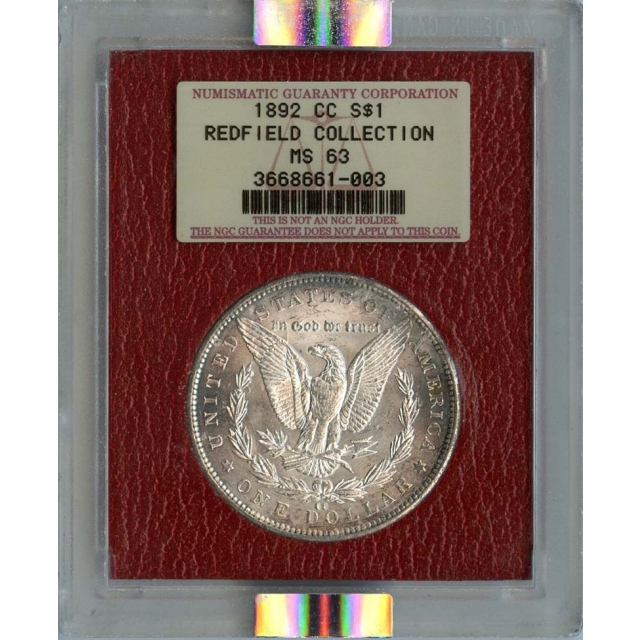 1892-CC Morgan Dollar S$1 NGC MS63 Redfield Collection