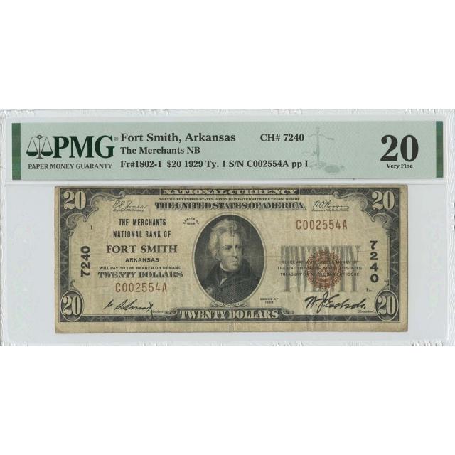 1929  TY1 $20 Merchants NB Fort Smith Arkansas CH#7240 PMG VF20