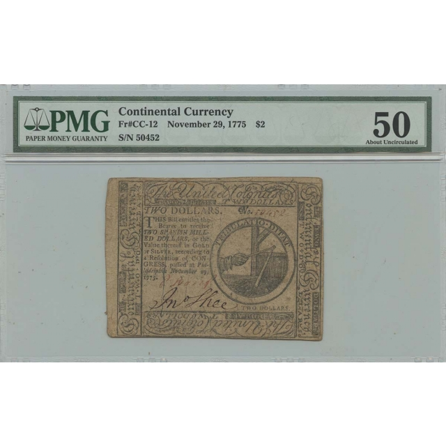 November 29 $2 Continental Currency 1775 CC-12 PMG 50