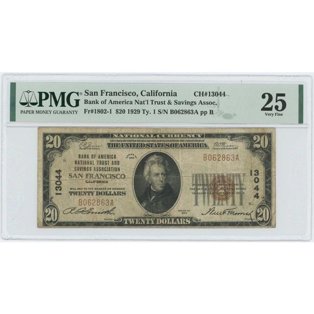1929 TY1 $20 Bank America San Francisco California CH#13044 PMG VF 25