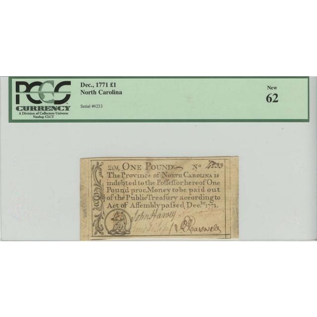 1771 1 Pound Dec, North Carolina Colonial  Note PCGS 62 New