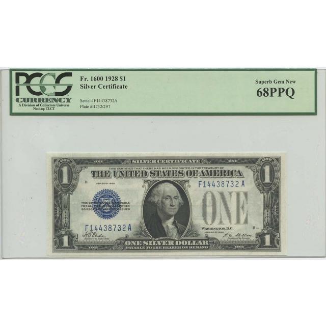 1928 $1 Silver Cert FR#1600 PCGS 68 Superb Gem New PPQ POP 5