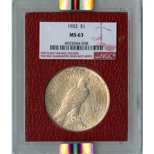 1922 Peace Dollar S$1 NGC MS63 Paramount