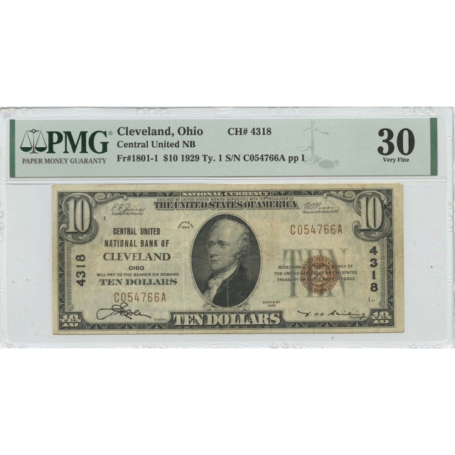 1929 Ty. 1 $10 Central United NB Cleveland OH CH#4318 PMG VF30