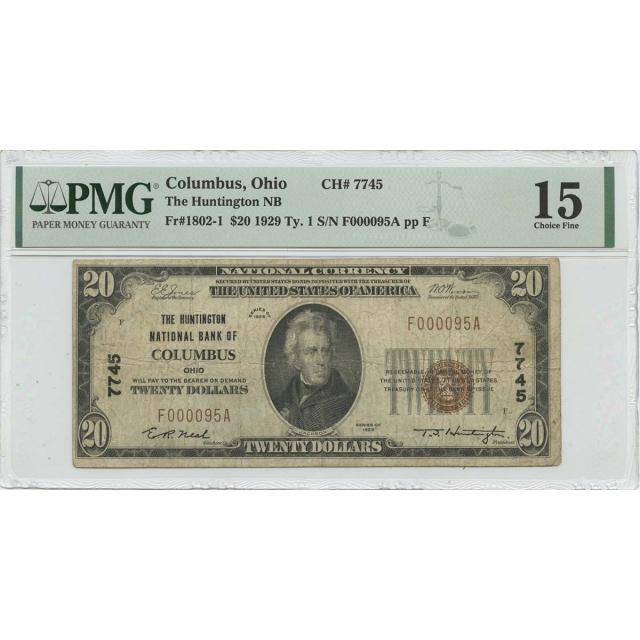 1929 Ty.1 $20 Huntington NB Columbus OH CH#7745 PMG CH F15