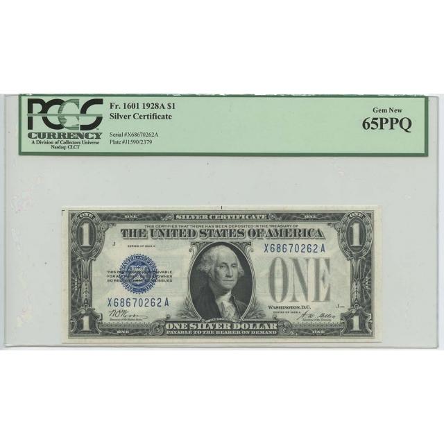 1928A $1 Silver Cert FR#1601 PCGS 65 Gem New PPQ