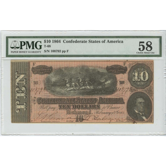 $10 1864 Confederate States of America T-68 PMG 58 Ch About Unc