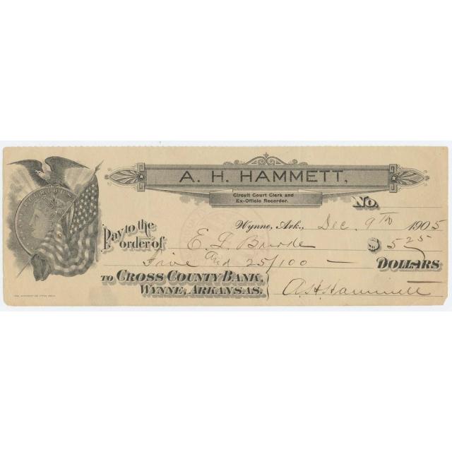 1905 A.H. Hammett $5.25 Check Circuit Court Clerk Wynne Arkansas Morgan Vingette